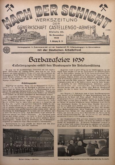 Nach der Schicht, 1939, Jg. 9, Nr. 24