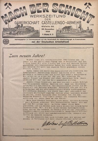 Nach der Schicht, 1939, Jg. 9, Nr. 25