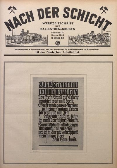 Nach der Schicht, 1940, Jg. 10, Nr. 8