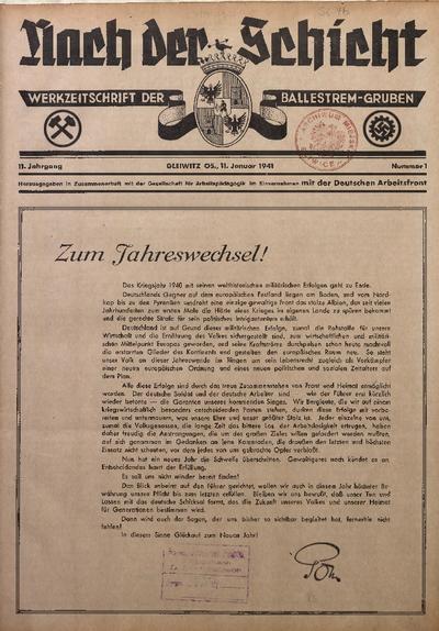 Nach der Schicht, 1941, Jg. 11, Nr. 1