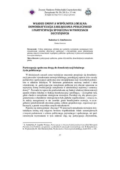 Władze gminy a wspólnota lokalna: demokratyzacja zarządzania publicznego i partycypacja społeczna w procesach decyzyjnych