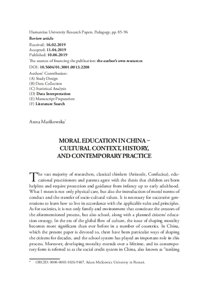 Moral education in china – cultural context, history, and contemporary practice