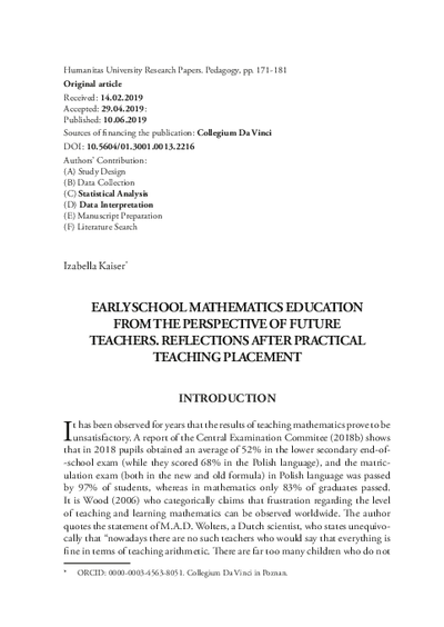 Early school mathematics education from the perspective of future teachers. Reflections after practical teaching placement