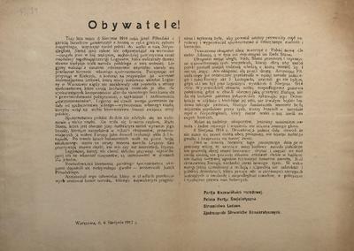 Obywatele! Warszawa, d. 6 Sierpnia 1917 r.