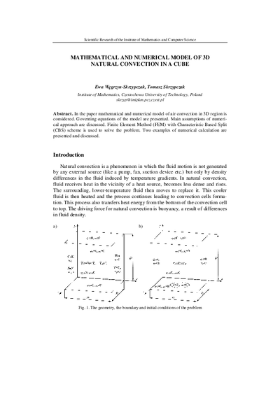 Mathematical and numerical model of 3D Natural convection in a cube