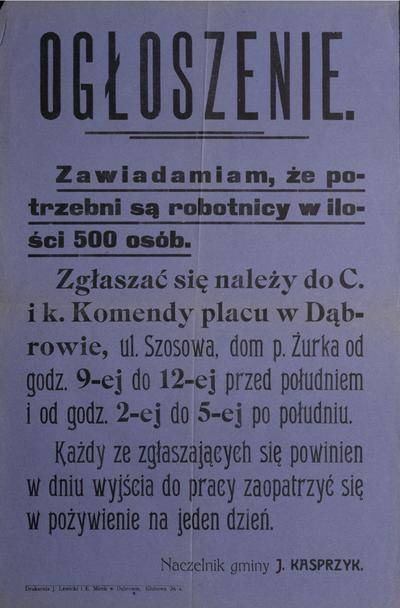 Ogłoszenie. Naczelnik gminy J. Kasprzyk