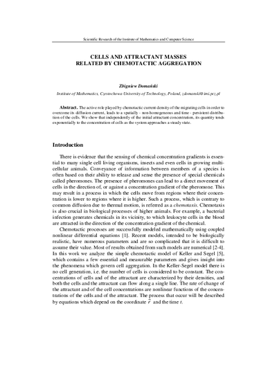 Cells and attractant masses related by chemotactic aggregation