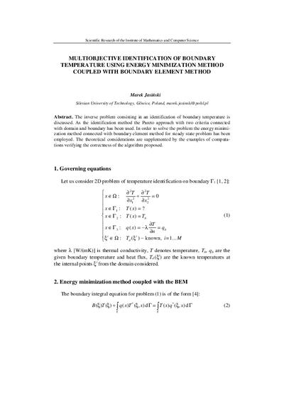 Multiobjective identification of boundary temperature using energy minimization methodcoupled with Boundary Element Method