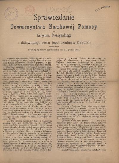 Sprawozdanie Towarzystwa Naukowej Pomocy dla Księstwa Cieszyńskiego, 1880/81