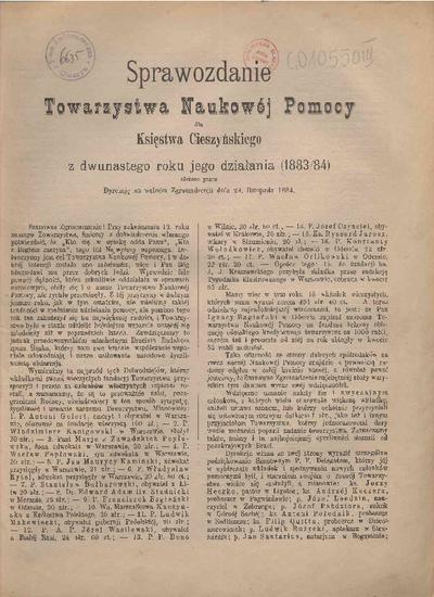 Sprawozdanie Towarzystwa Naukowej Pomocy dla Księstwa Cieszyńskiego, 1883/84