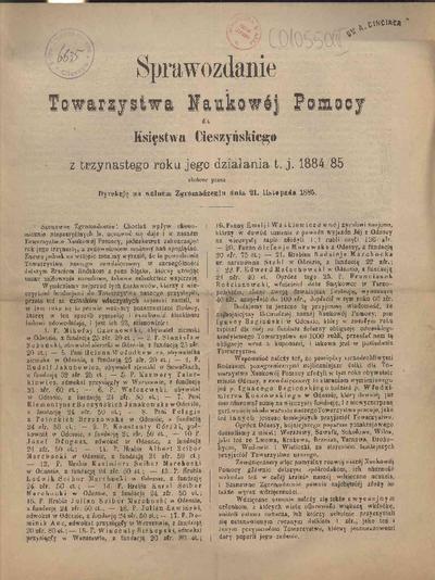 Sprawozdanie Towarzystwa Naukowej Pomocy dla Księstwa Cieszyńskiego, 1884/85