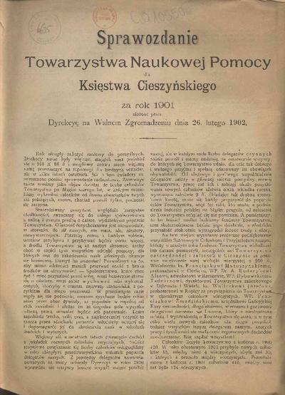 Sprawozdanie Towarzystwa Naukowej Pomocy dla Księstwa Cieszyńskiego, 1901