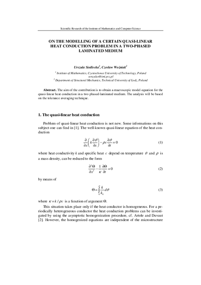 On the modelling of a certain quasi-linear heat conduction problem in a two-phased laminated medium