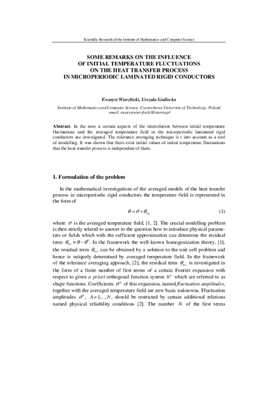 Some remarks on the influence of initial temperature fluctuations on the heat transfer process in microperiodic laminated rigid conductors