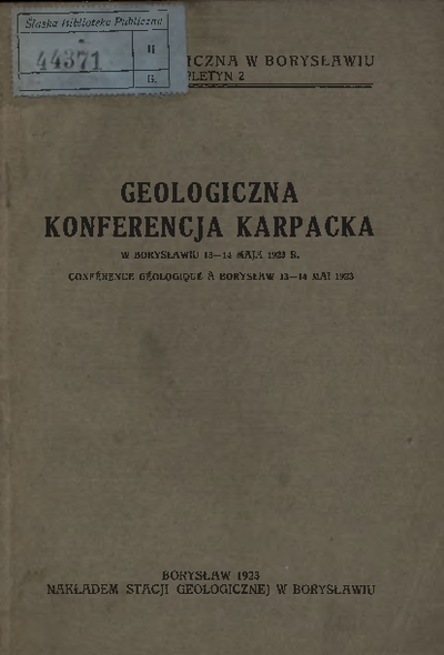 Geologiczna Konferencja Karpacka w Borysławiu 13-14 maja 1923