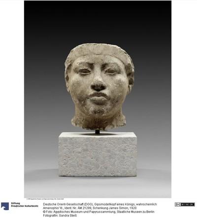 Gipsmodellkopf eines Königs, wahrscheinlich Amenophis' III.