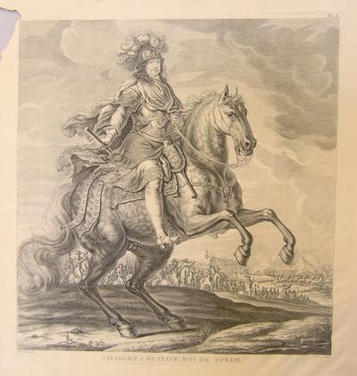 Kopparstick, möjligen nytryck 1800-tal, av Sandrart efter Ehrenstrahl, Karl X Gustav