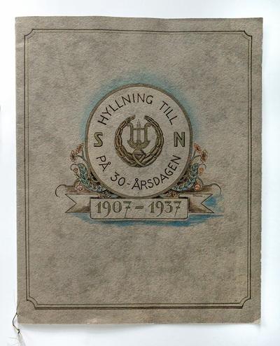 Hyllningsdikt till Manskören 1937 av Arvid Uhrbom, omslag med teckning av Uno Dewoon