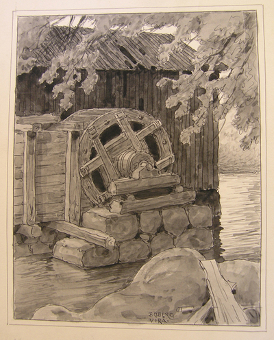 Teckning, Kvarnhjul vid Virå