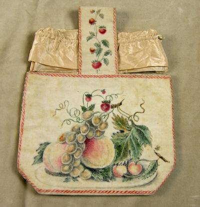 Väska av sammet och siden i vitt med målat motiv, frukter