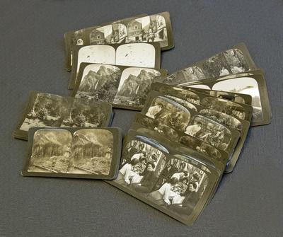 Stereoskopbilder, humoristiskt och exotiskt, från åren omkring 1900