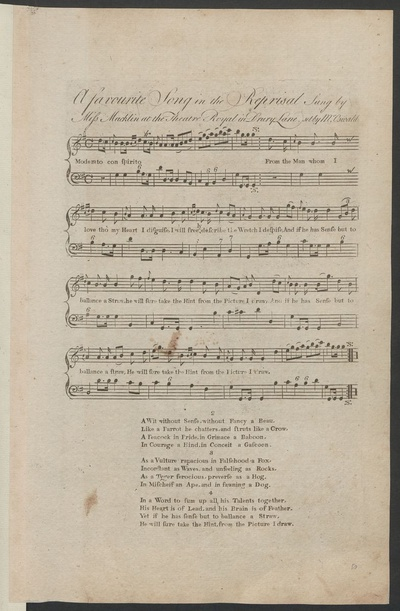 A favourite song in The reprisal : sung by Miss Macklin at the Theatre Royal in Drury Lane