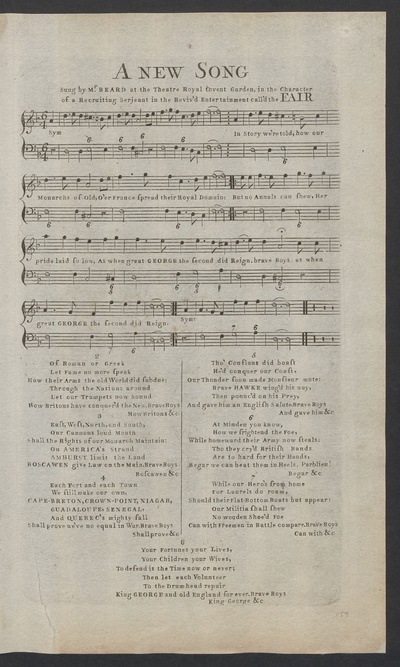 A new song : sung by Mr. Beard at the Theatre Royal Covent Garden, in the character of a recruiting serjeant in the reviv'd entertainment call'd The fair