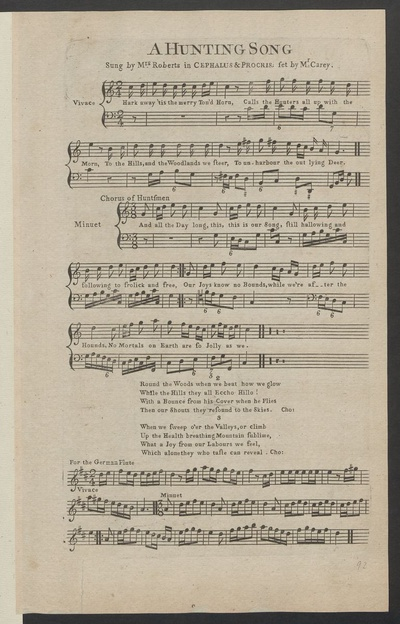 A hunting song : sung by Mrs. Roberts in Cephalus & Procris