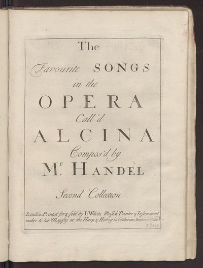 The favourite songs in the opera call'd Alcina : second collection