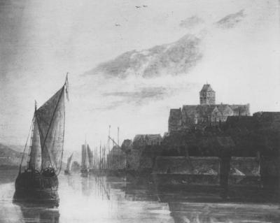 Een paneel van Aelbert Cuyp (20-10-1620 - 15-11-1691), voorstellende de Valkhofburcht, gezien vanaf de rivier de Waal; het origineel berust bij de Collectie E. de Rothschild, in Parijs; het schilderij bevat fantasie elementen