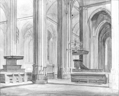 Een aquarel en pentekening van Jan van Vucht Tijssen , voorstellende een ontwerptekening in spiegelbeeld van het transept van de St. Stevenskerk, naar het zuidoosten; uit de collectie van dr.J. van Vucht-Tijssen