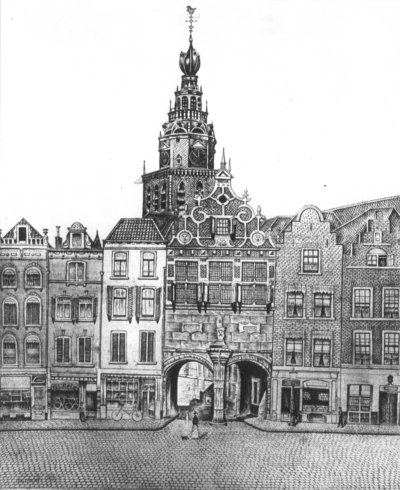 De kerkboog met op de achtergrond de Sint Stevenstoren, ets van Sal Meijer (06-12-1877 Amsterdam - Blaricum 01-02-1965). De kunstenaar die vooral bekend werd als kattenschilder werkte in een naïeve stijl (hij betitelde zijn werk als schilderstukjes)