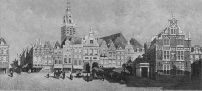 De westwand van de Grote Markt, de oostelijke zijgevel van het Waaggebouw en de hoek met de Kannenmarkt; links de Stikke Hezelstraat, op de achtergrond de St. Stevenstoren; een orginele foto; het schilderij bevindt zich in het Gemeentehuis
