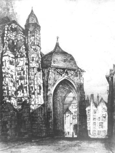 Het Zuiderportaal van de St. Stevenskerk , gezien in de richting van de Kerkboog : een foto van een ets van Eugene Joseph Frans Lücker (9 juli 1876 - 30 mei 1943) ; het origineel berust in het GemeenteMuseum van Roermond