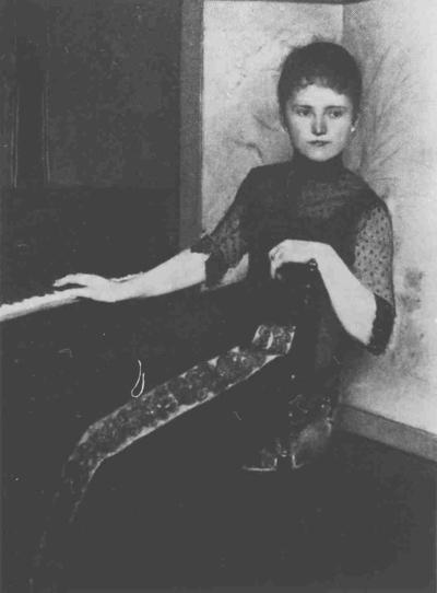 Jonkvrouwe Maria Francisca Louisa Dommer van Poldersveldt (1848-1925), echtgenote van Augustinus Gerardus Hubertus van Rijckevorsel (1828-1891). Geschilderd door Ferdinand Knopff, uit de collectie erven Jhr. Mr. R.A.T.M. van Rijckevorsel, Epen.