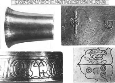 Glad zilveren huwelijksbeker met wijde vergulde bovenrand waarin gegraveerd