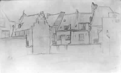 Een potloodtekening van Jan van Vucht Tijssen (5-9-1884 - 20-11-1970) , voorstellende de Eiermarkt, gezien in noordelijke richting; dit is een voorstudie voor een ets; (het is verboden deze foto te reproduceren of te publiceren) ; Collectie J.van Vucht Tijssen