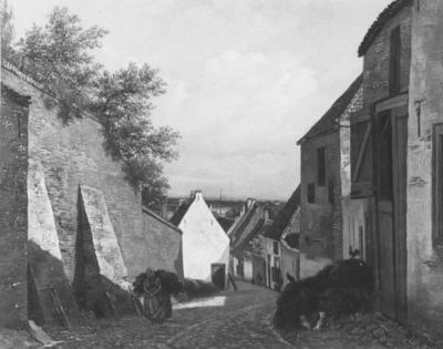 Een schilderij van Hendrik Johannes (Jan Hendrik) Weissenbruch (30 november 1824 - 14 maart 1903) voorstellende de Ottengas , gezien vanaf de kruising met de Muchterstraat in de richting van de rivier de Waal met links de muur van de Klokkenberg