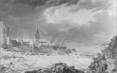 Een pen- en penseeltekening in grijs gewassen, van Steven Goblé (1749-1799), voorstellende de Valkhofburcht,  de Belvédère (links), de Hunnerpoort (Hoenderpoort) en de Lappentoren (uit 1436), tijdens het instorten van deze toren bij de ijsgang van 1784