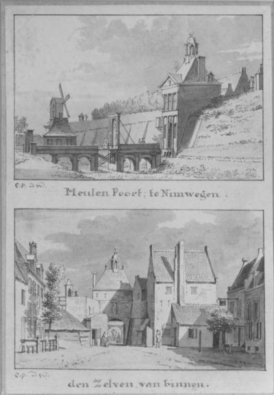 Een tekening in Oost Indische inkt, van de buitenzijde (boven) en de stadszijde (onder) van de Molenpoort (uit 1436 en gesloopt in 1877) ; beide tekeningen op één blad zijn van de hand van Cornelis Pronk