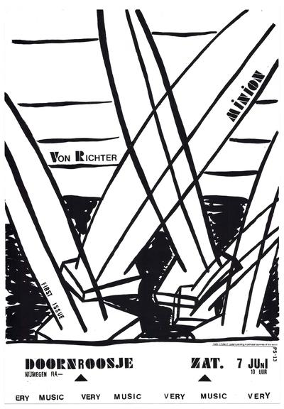 De aankondiging van het optreden van Von Richter, First Issue en Minion spelen in Doornroosje op zaterdag 7 juni.  (De Friese band First Issue werd in 1985 opgericht. De Duitse band Minion was actief van 1994-2011).