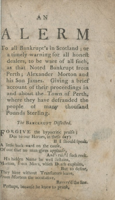 Alerm [sic] to all bankrupt's in Scotland