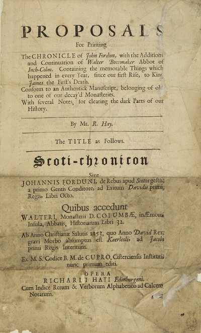 Proposals for printing the chronicle of John Fordun