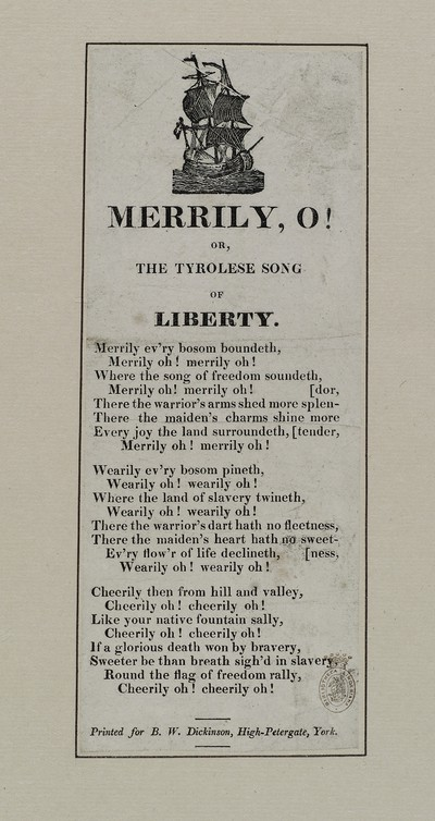 Merrily, o! or, The Tyrolese song of liberty