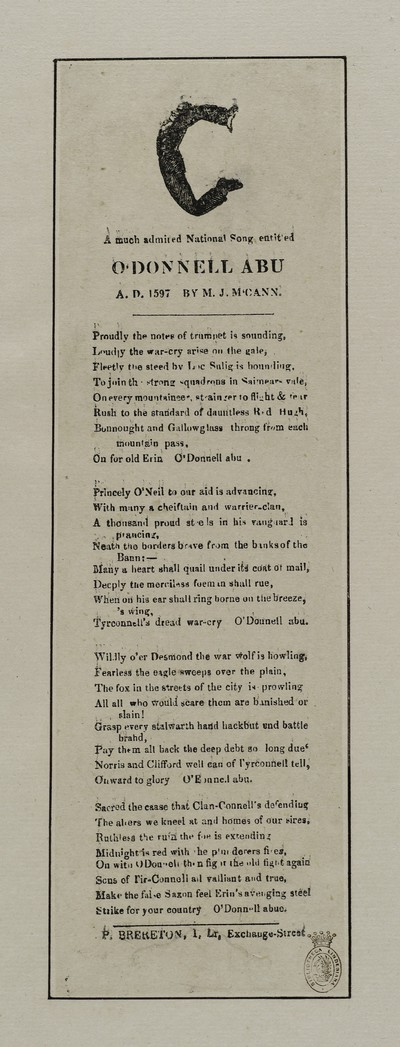 Much admired national song entitled O'Donnell abu