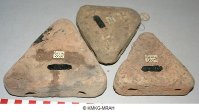Three triangular weights  of a weaving loom made of fired clay