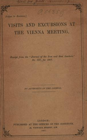 Report on the visits and excursions at the Vienna meeting