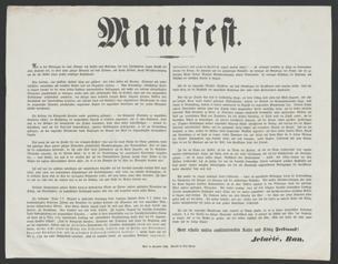 Manifest [Wien, September 1848] : Als in den Märztagen die laute Stimme des Volkes nach Befreiung von dem Jahrhunderte langen Drucke des alten Systems rief, da hörte unser gütiger Monarch auf diese Stimme, und sprach Freiheit, sprach Gleichberechtigung aus für alle Völker seines großen mächtigen Kaiserstaates ...