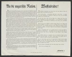 An die ungarische Nation : Indem ich ein Land mit bewaffneter Hand betrete, für das ich ... die wärmste ... Sympathie fühle, thue ich diesen Schritt erst, nachdem mir jede Hoffnung einer friedlichen Ausgleichung benommen worden ist ... ; Von der Drave im September 1848