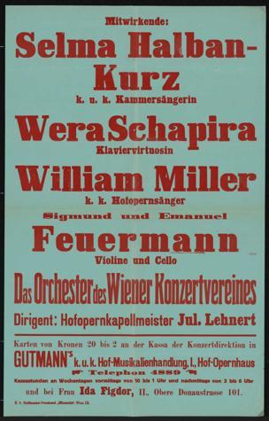 Konzertdirektion Gutmann (Hugo Knepler) [5. Jänner 1915] ... im Grossen Konzerthaus-Saale Wohltätigkeits-Konzert zugunsten der Ausspeisung von Flüchtlingen ... Orchester des Winer Konzertvereines ...